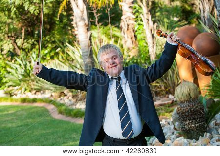 Young Handicapped Musician Raising Arms With Violin.