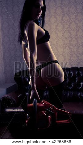 Sexy Girl With Chainsaw