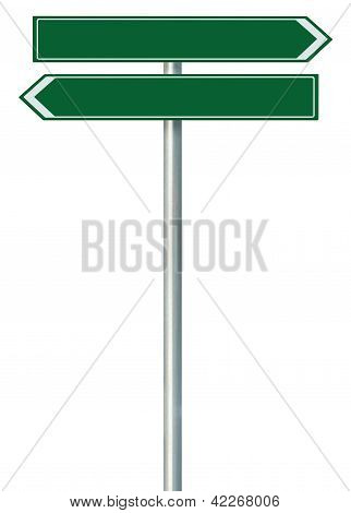 Right Left Road Route Direction Pointer This Way Sign, Green Isolated Roadside Signage, White Arrow