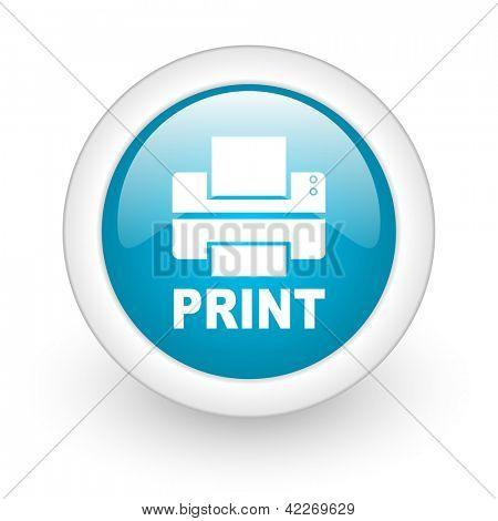 print blue circle glossy web icon on white background