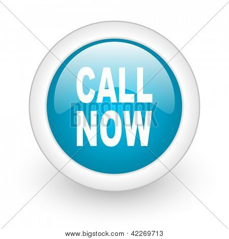call now blue circle glossy web icon on white background