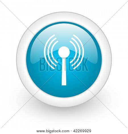 wifi blue circle glossy web icon on white background