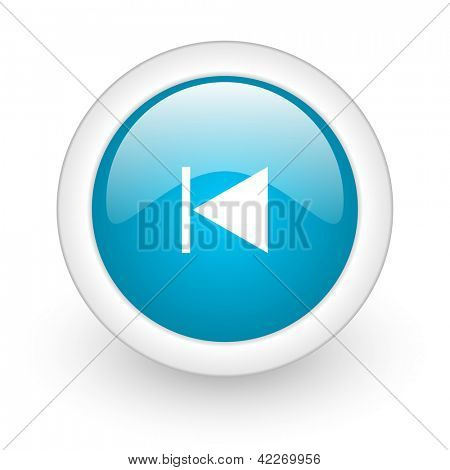 prev blue circle glossy web icon on white background
