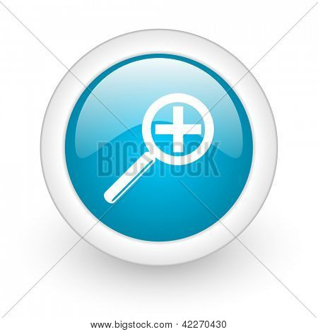 magnification blue circle glossy web icon on white background