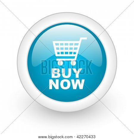 buy now blue circle glossy web icon on white background