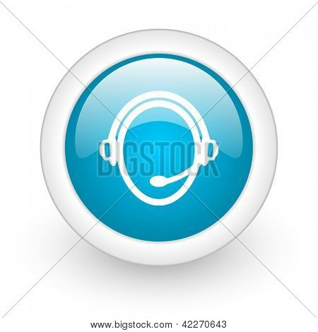 customer service blue circle glossy web icon on white background