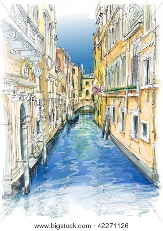 Venice - water canal, old buildings & gondola away. Vector drawing