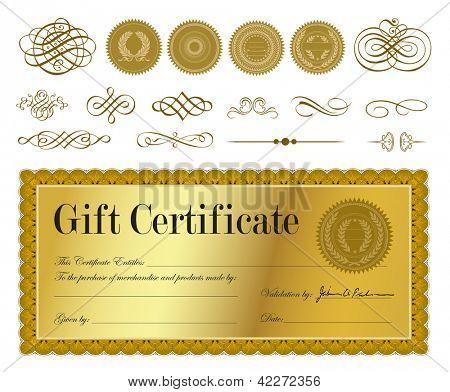 Vektor-Gold-Zertifikat. Leicht zu bearbeiten. Alle Ebenen sind getrennt.