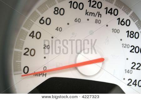 Modern Speedometer Closeup