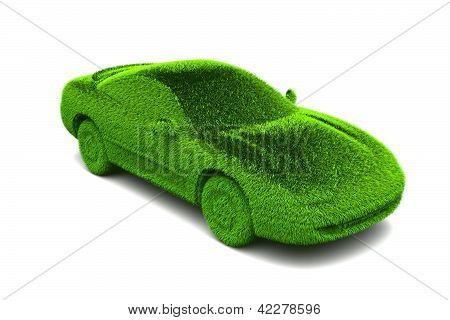 Ecologic green car with grass surface
