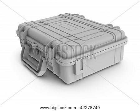 Rendered textureless white instrument case / suitcase