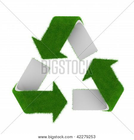 Rendered green recycling symbol covered with short grass