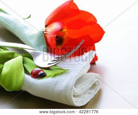 linen napkins for spring (Easter) table setting