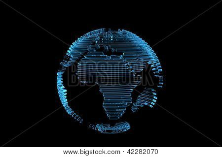 Globe world map 3D rendered xray blue transparent