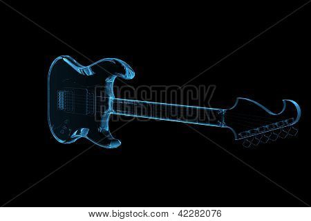 Guitar 3D rendered xray blue transparent isolated on black