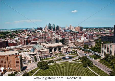 Vista del centro de Kansas City Skyline