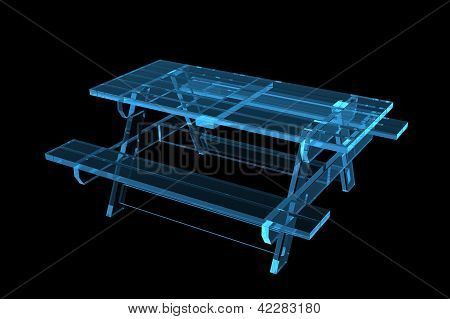 Table pic-nic 3D xray blue transparent isolated on black