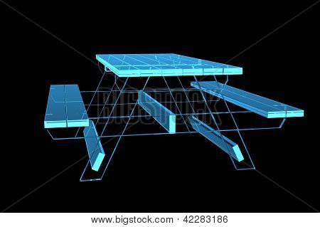 Table pic-nic 3D xray blue transparent