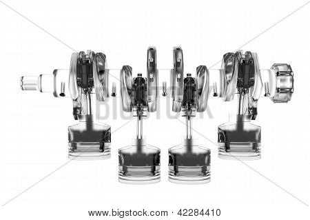4 cyclinder crank 3D rendered white transparent