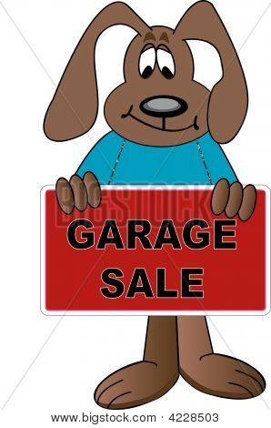 Dog Cartoon Holding Garage Sale Sign.