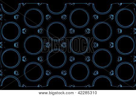 Holes in a metal plate (3D xray blue transparent)