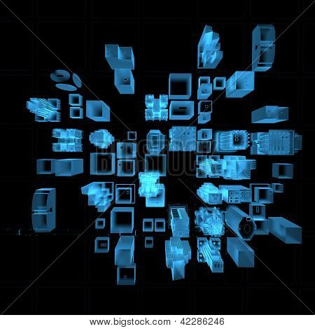 Big City (3D xray blue transparent)
