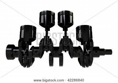White 4 cylinder crank assembly