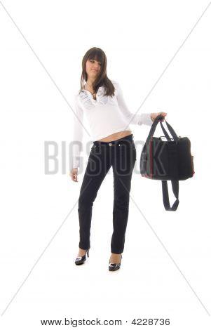 Moda menina com saco de desporto