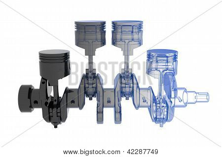 Crank shaft 4 cylinder - transparent blue and black isolated on white