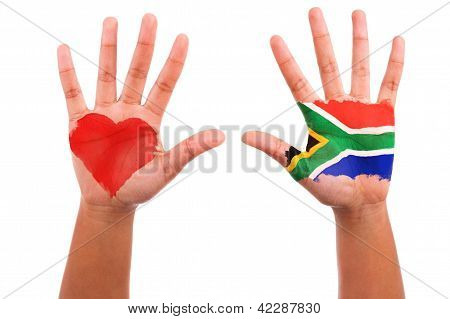 African Hands With A Painted Heart And South African Flag, I Love South Africa Concept