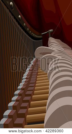Piano Interiors With Strings And Hammers.