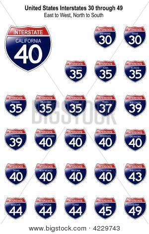 Estados Unidos signos interestatal I-30 a 49