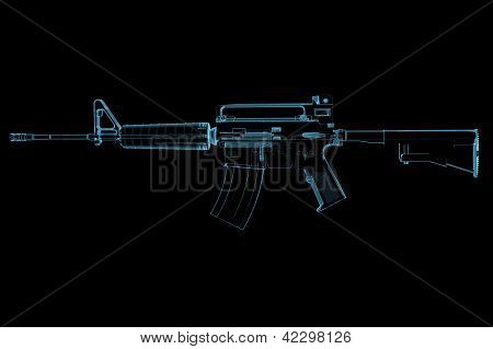 Gun (3D Xray Blue Transparent)