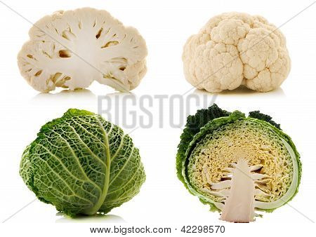 Green Cabbage And Cauliflower