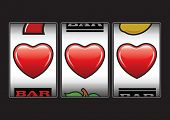 stock photo of cupid  - Triple hearts Valentine slot machine - JPG