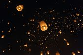 Fire lantern launching during  loy krathong festival, Thailand