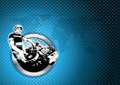 foto of disc jockey  - illustration of disc jockey in chrome ring - JPG