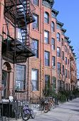 stock photo of brownstone  - New York City brownstones in Park Slope - JPG