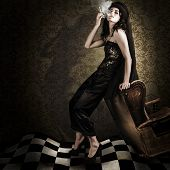 stock photo of cigar  - Artistic Fashion Photo Of Beautiful Avant - JPG