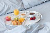 stock photo of pillowcase  - Breakfast in bed - JPG