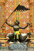 picture of hanuman  - Hanuman warrior ride on cloud at temple - JPG