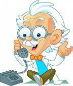 image of einstein  - Vector Illustration of a Professor Character Making a Phone Call - JPG