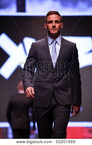ZAGREB, CROATIA - OCTOBER 04: Model walks the runway at XYZ collection presentation on 'Wedding days' show, October 04, 2013 in Zagreb, Croatia.