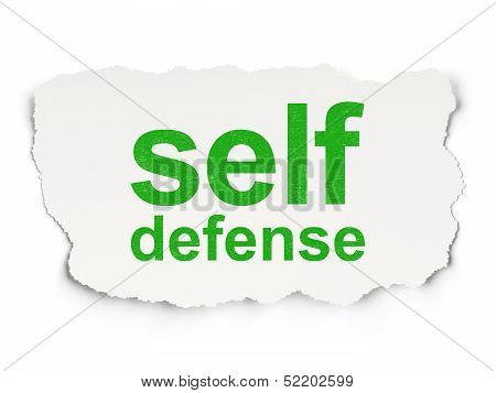 Safety concept: Self Defense on Paper background