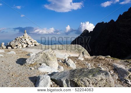 Cairn In Mountains