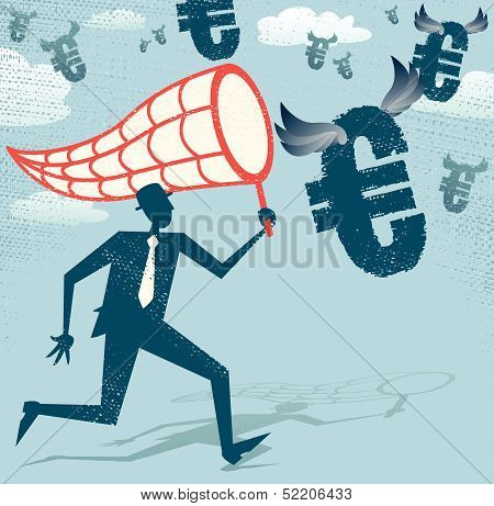 Abstract Businessman chasing and netting Euros.
