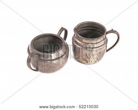 Pewter Sugar Bowl And Milk Jug.
