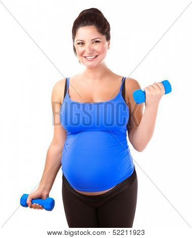 Happy pregnant woman do exercise, isolated on white background, lifting dumbbells, active lifestyle, healthy pregnancy concept