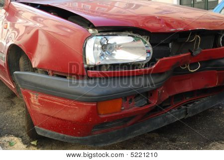 Red Car Front Crashed