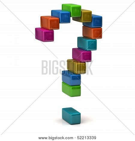 Colorful question mark made of 3d cubes